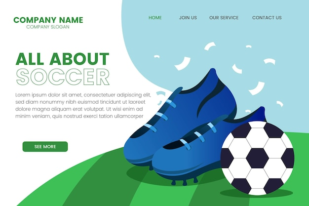 Cartoon south-american football landing page template