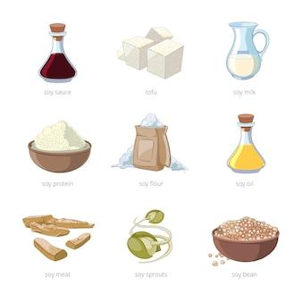 漫画の大豆食品ベクトルセット。健康的な食事、種大豆、豆腐、牛乳、ビーガン有機大豆セット