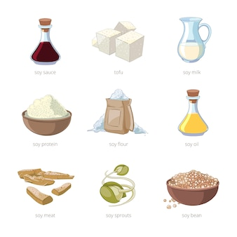 Cartoon soy food vector set. healthy diet, seed soya, tofu and milk, vegan organic soybean set