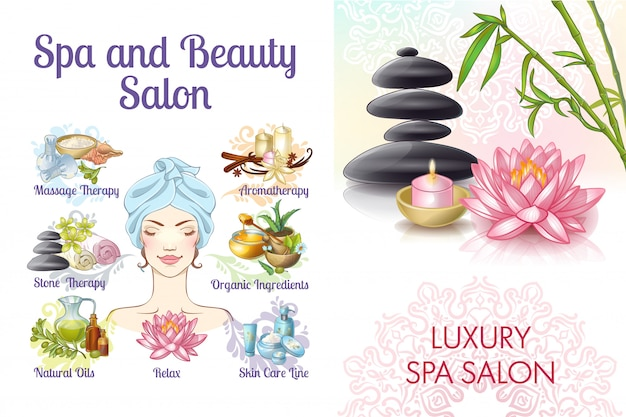 Cartoon spa salon colorful composition with woman stones natural and massage oils lotus flower creams aroma candles towels