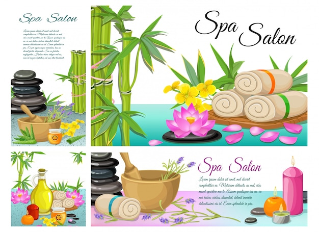 Cartoon spa salon composition with stones bamboo towels lotus flower mortar aroma candles aloe vera natural olive oil