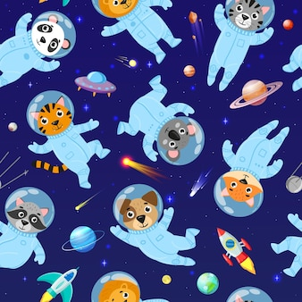 Cartoon space animals cosmonauts, astronauts seamless pattern. cute space galaxy astronauts in space suits vector illustration. space animals seamless pattern