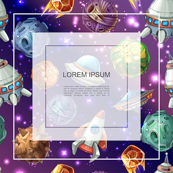 Modello colorato spazio cartone animato con cornice per testo fantasia pianeti meteore asteroidi stelle luminose razzo ufo e astronave