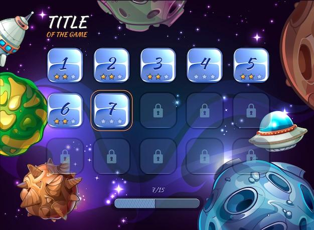 Uiゲームの漫画空間要素。ボタンユーザーアプリ、宇宙と小惑星、ロケット船とクレーターまたはufoのイラストを探索する
