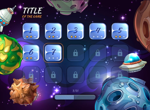 Cartoon space elements for ui game. button user app, universe and asteroid, rocketship and explore crater or ufo illustration
