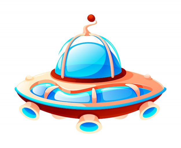 Cartoon space icon of ufo, alien spaceship, isolated at white, game element