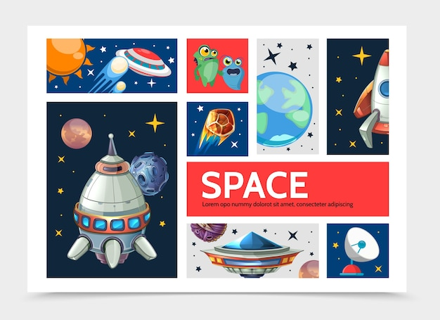 Cartoon space infographic template with planets spaceship rocket ufo cute aliens satellite dish stars