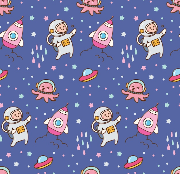 Cartoon space kawaii seamless pattern