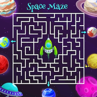 Cartoon space labyrinth maze game of kids education