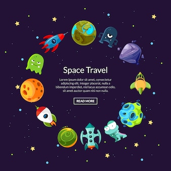 Cartoon space planets and ships in circle form banner