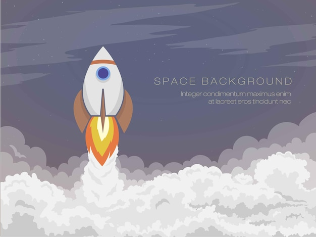 The cartoon space rocket flies into open space, starts with smoke.