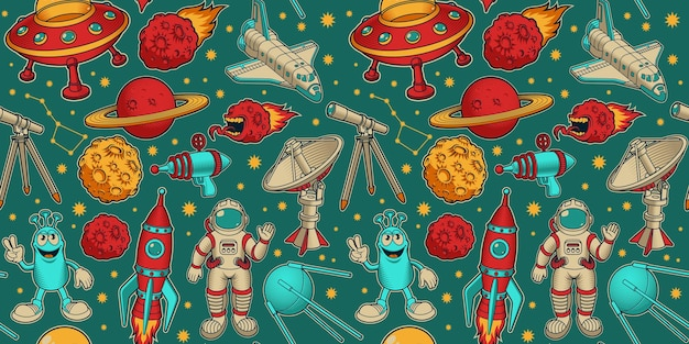 Cartoon space seamless background, this design can be used as wallpaper for a children's room