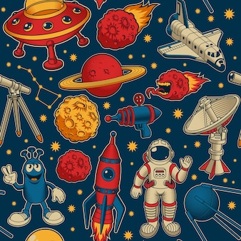 Cartoon space seamless pattern, this design can be used as a wallpers for a children's room