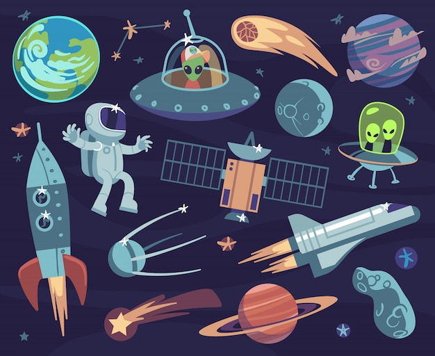 Cartoon space set. cute astronauts and ufo aliens, satellite planets and stars. meteorite and spaceship kids wallpapers vector comic doodle asteroid and sputnik, comet and fantastic moon print