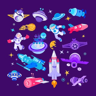 Cartoon space and spaceship  illustrations, spaceman with with shuttle, rocket set