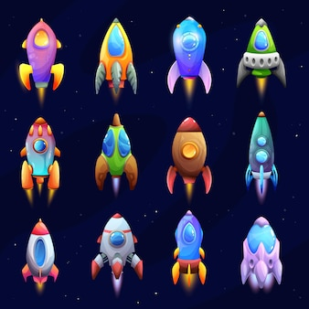Cartoon spacecraft, rockets and spaceships