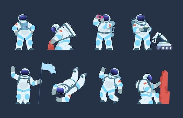 Cartoon spaceman design, cosmonaut in motion