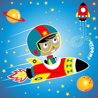 Cartoon of spaceman in outer space