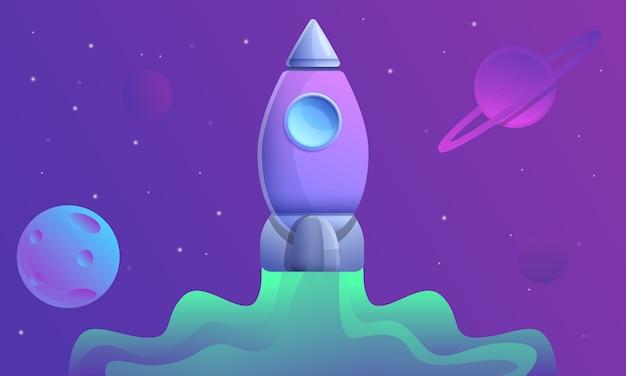 Cartoon spaceship flying in space, illustration