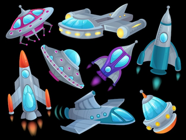 Cartoon spaceship. futuristic space rocket vehicles, alien flight spacecraft ship ufo and aerospace rocketship isolated  set