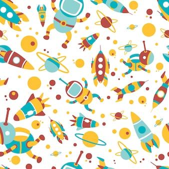 Cartoon spaceship icons seamless pattern