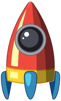白い背景の上の漫画の宇宙船