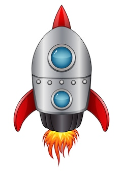Cartoon spaceship with flame isolated on white background