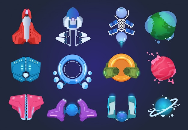 Cartoon spaceships. alien planets ufo rockets and missiles. space galaxy game items