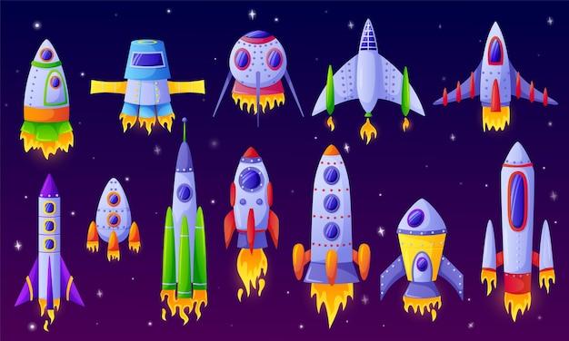 Cartoon spaceships futuristic rockets spacecraft with space background