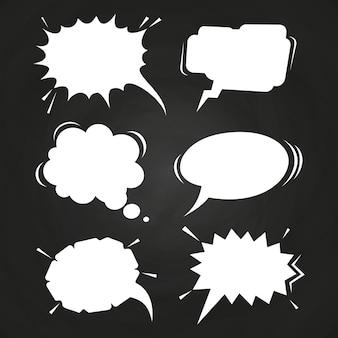 Cartoon speech balloons collection on chalkboard