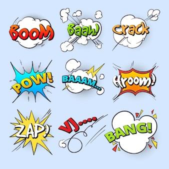 Мультяшные речевые пузыри, взорвать звук взрыва с коллекцией комических текстовых элементов. текст взрыва комической речи, иллюстрация речи пузыря бума