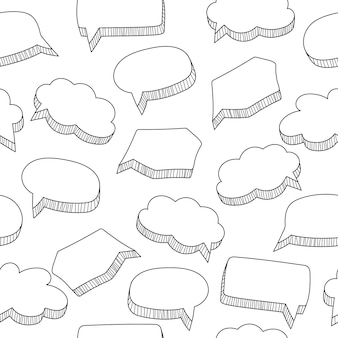 Cartoon speech bubbles seamless pattern in hand drawn style, black and white vector illustration
