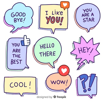 Cartoon speech bubbles with variety of messages