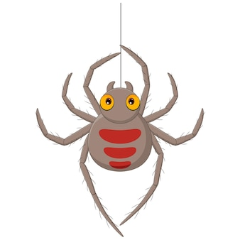 Cartoon spider hanging on a web