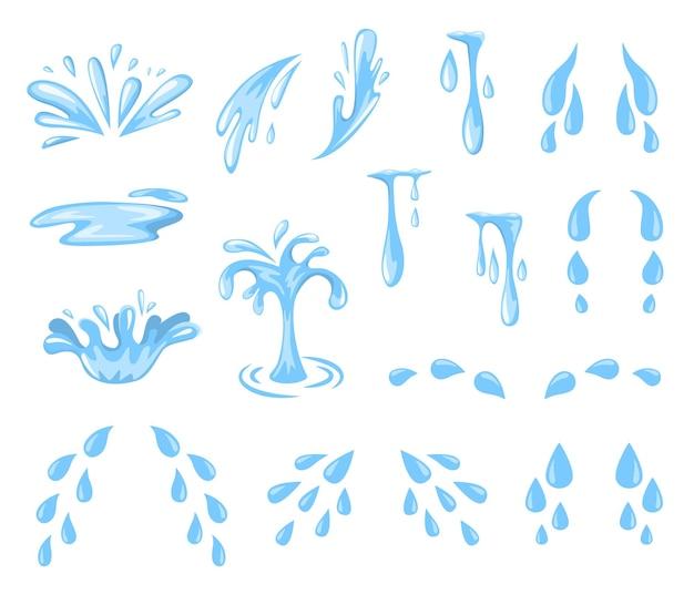 漫画のしぶきとドロップ。涙、汗または水しぶきと流れ、青い水滴の落下。
