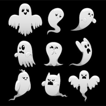 Cartoon spooky ghost character set