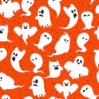 Cartoon spooky ghost character set