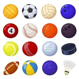 Cartoon sport ball sports game equipment soccer volleyball golf football baseball cricket vector set