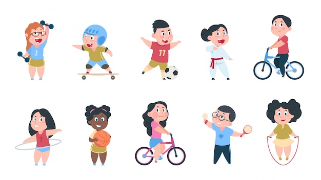 Cartoon sport kids. boys and girls playing ball, group of children ride on bike, do active physical exercises.