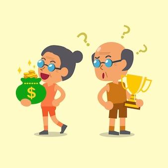 トロフィーを保持している漫画スポーツ年配の男性とお金の袋のイラストを保持している年配の女性