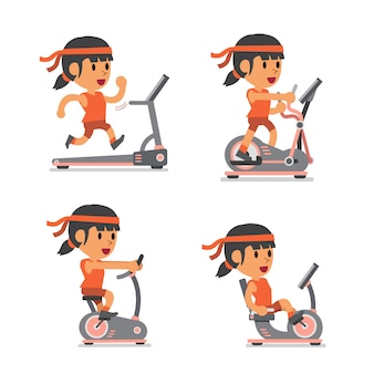 Cartoon sport woman with exercise machines