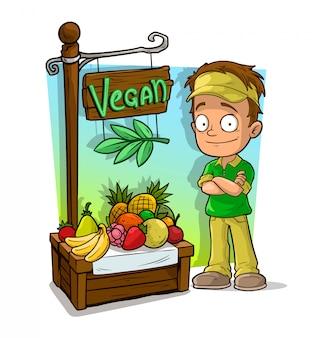 Cartoon sportsman character and vegan fruit shop