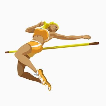 Персонаж женщины спортсмена шаржа прыгает через бар во время соревнования.