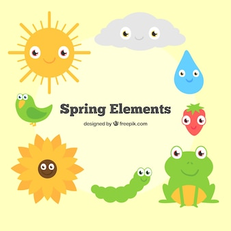 Cartoon spring animals and nature elements