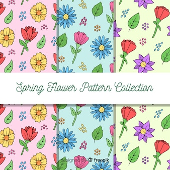 Cartoon spring floral pattern set