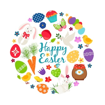 Cartoon spring happy easter printable vector banner with eggs, bunnies and flowers