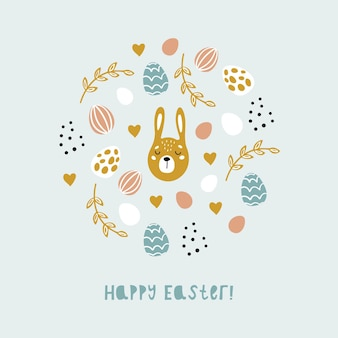 Cartoon spring happy easter with eggs, bunnies and flowers. colorful illustration