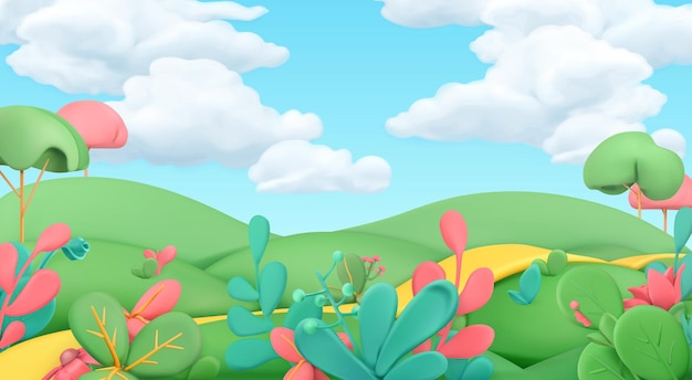 Cartoon spring landscape 3d background