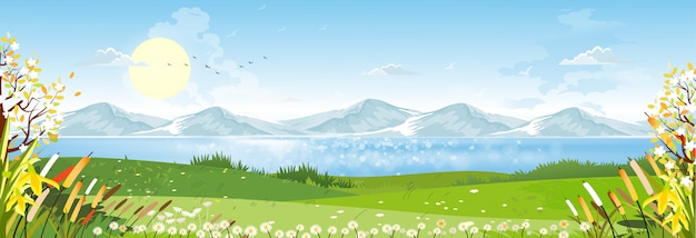 Cartoon spring landscape with mountain, blue sky and cloud