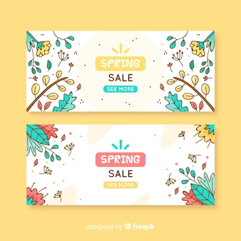 Cartoon spring sale banner